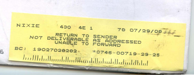 Return to Sender: Address Unknown. Unable to forward.