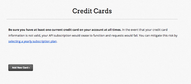 Adding a credit card to your account information.