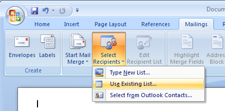 Application Dialogs - Show mail merge 'Select Recipients