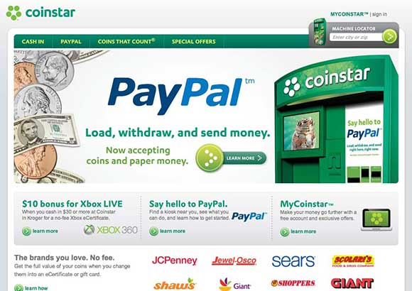 Coinstar Home Page