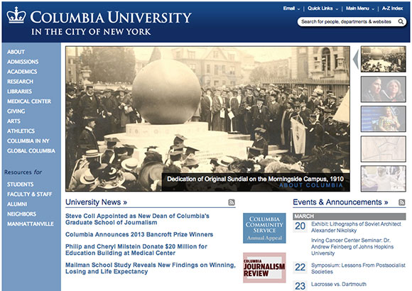Columbia University Home Page