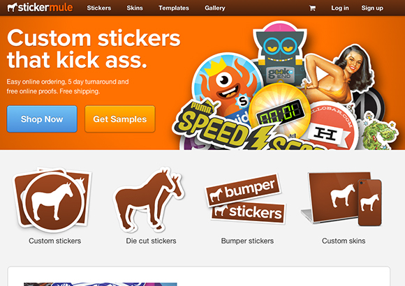 Sticker Mule Home Page