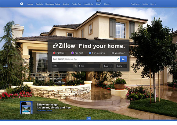 Zillow Home Page